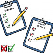 Clipboard with checklist and pencil — Vector de stock