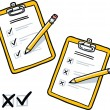 Stock Vector: Clipboard with checklist and pencil