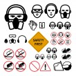 Safety signs for abrasive wheel on the angle grinder — Stock Vector