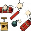 Dynamite, bomb, dynamite bomb with timer. — Stock Vector