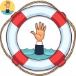Single hand of business man drowning in water and asking for help — Stock Vector #29218915