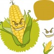 Evil corn with scary smile and dialog box — Stock Vector