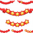 Stock Vector: Five star rating on the red ribbon