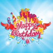 Happy birthday greetings card design — Stock Vector