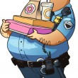 Glutton police officer with donuts and other fast food — Stock Vector