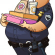 Glutton police officer with donuts and other fast food — Stock Vector #29219065