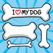 I love my dog. sign on the bone. — Stock Vector