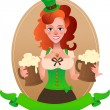 Pretty leprechaun girl with beer — Stock Vector