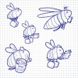 Постер, плакат: Cartoon bee characters