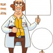 Stock Vector: Fun scientist with sign