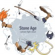 Постер, плакат: Cartoon fight cloud stone age caveman mammoth hunting