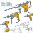 Stock Vector: Drills collection.