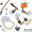 Stone age caveman fight design elements — Stock Vector