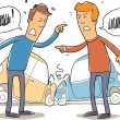 Stock Vector: Two mans debate who is to blame in a car crash