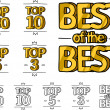 Gold top hundred, top ten, top five and top three ranking and best of the best rank — Stock Vector