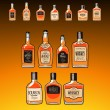 Whiskey bottles set on the dark amber background — Stock Vector #29219611