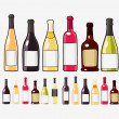 Wine bottles set isolated on white — Stock Vector