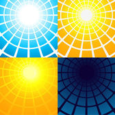 Simple circle based abstract backgrounds: sunrise, noon, sunset, night — Stock Vector