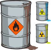 Metal barrel with flammable oil and barrels with radioactive, biohazard waste — Stock Vector