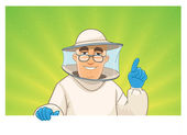 Beekeeper gives advice. man with a blank sign — Stock Vector