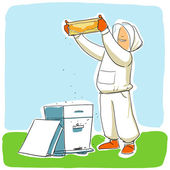 Beekeeper at work. honey frame inspection — Stock Vector