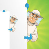 Printbeekeeper standing by white blank card and pointing at something about beekeeping — Stock Vector