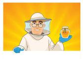 Beekeeper showing honey pot — ストックベクタ