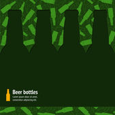 Beer bottles silhouette on the seamless pattern — Stock Vector