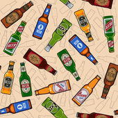 Beer bottles seamless pattern — Stock Vector