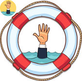 Single hand of business man drowning in water and asking for help — Stock Vector