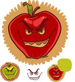 Evil apple with scary smile and dialog balloon — Stock Vector