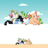 Farm animals stand behind the blank signboard — Stock Vector