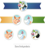 Blank ribbons with farm animal — Stock Vector