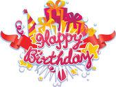 Happy birthday greetings card design element — Stock Vector