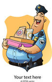 Happy policeman with donuts. — Stock Vector