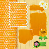 Honey frames, seamless isolated honeycombs, flowers, sign — Stock Vector