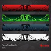 Horror slime halloween seamless borders — Stock Vector