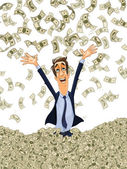 Webhappy young business man bathing in a heap of money — Stock Vector