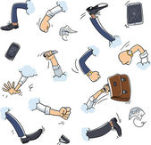 Business fight cartoon hands — Stock Vector