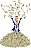 Happy business man in a heap of money — Stock Vector