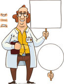 Fun scientist with sign — Stock Vector