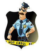 Serious police officer on the job — Stock Vector