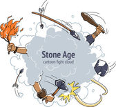 Nube de lucha de dibujos animados. edad de piedra caza mamut cavernícola — Vector de stock