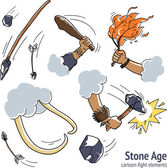 Stone age caveman fight design elements — Wektor stockowy