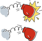 Cartoon boxing glove punch — Stock Vector