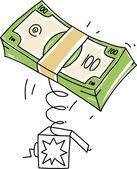 Caja de sorpresas con pila de dinero — Vector de stock