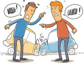 Two mans debate who is to blame in a car crash — 图库矢量图片