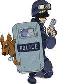 Polismyndigheterna i svart uniform med metall sköld och polishund i strid — Stockvektor