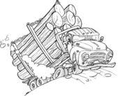 累了老卡车与木材 — 图库矢量图片