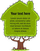 Tree house blank banner for text — Stock Vector